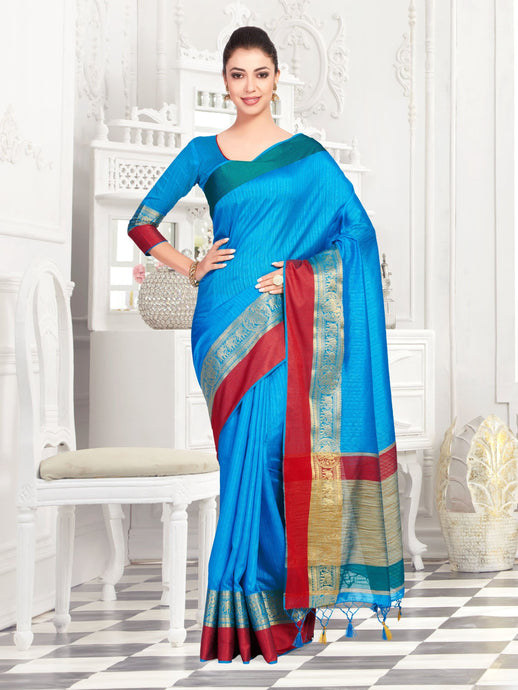 MIMOSA Women's Raw Silk Kanjivaram Style Saree with Blouse - kupindaindia