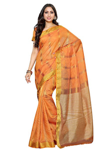 Mimosa raw silk saree with unstiched blouse - gold