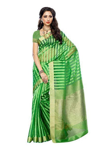 Mimosa raw silk saree with unstiched blouse - green