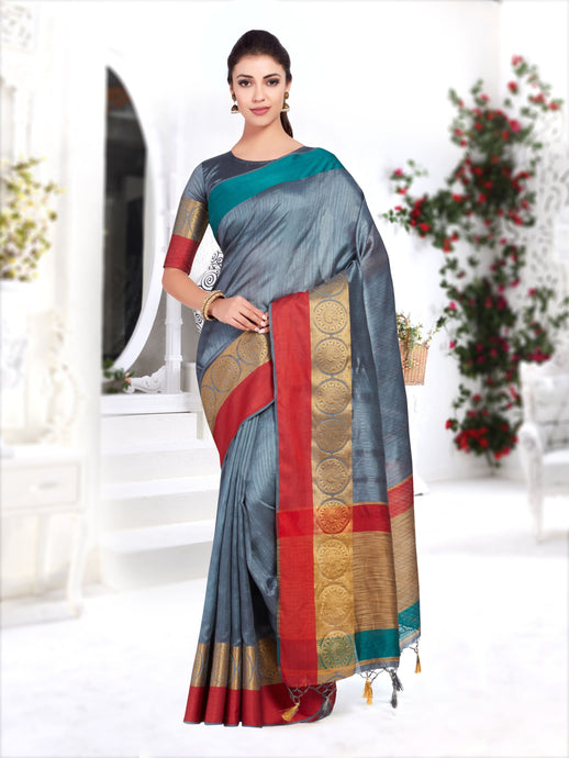 Mimosa Wedding Raw Silk saree Kanjivaram Style With Blouse - kupindaindia