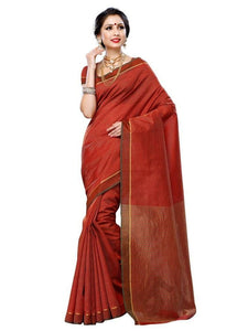 MIMOSA Striped Design Art Silk Saree with Plain Blouse in Color Maroon (3224-prs10-mrn) - kupindaindia