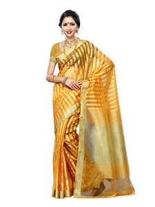 MIMOSA Striped Design Tussar Silk Saree with Blouse in Color Mustard (3225-prs30-must) - kupindaindia