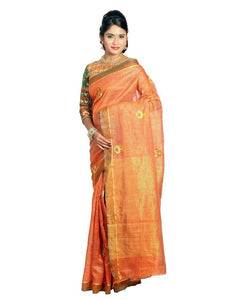 MIMOSA Simple Butta Design Raw Silk Saree with and Blouse in Color Orange (3208-a-prs10-bl-org) - kupindaindia
