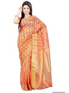 Mimosa raw silk saree with unstiched blouse - peach