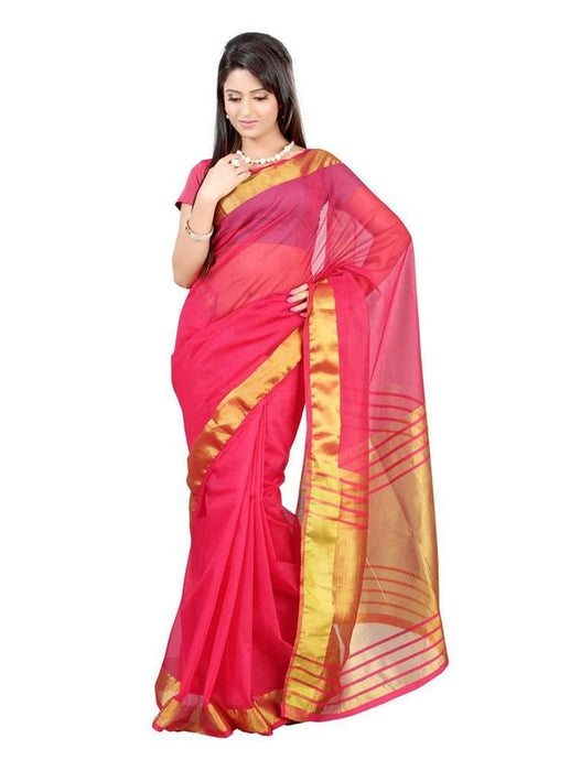 MIMOSA Golden Border Design Net Saree with Blouse in Color (3114-prs2-1l-rani) - kupindaindia