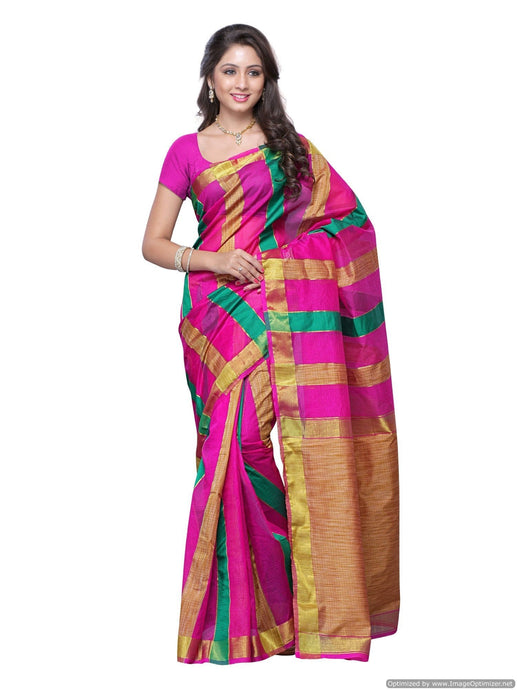 MIMOSA Simple Stripped Design Art Silk Saree with Blouse (3101-m1-rani) - kupindaindia