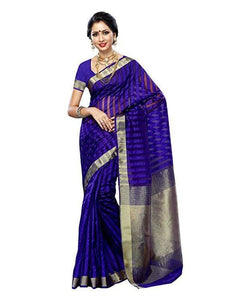 Mimosa raw silk saree with unstiched blouse - purple