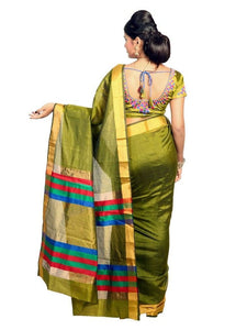 MIMOSA Raw Silk Saree with Multicolor Stripped Pallu and Un-Stitched Blouse in Color Olive (3211-a-prs16-bl-olive) - kupindaindia