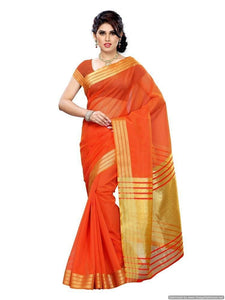 MIMOSA Art Silk Golden Bordered Saree with Plain Blouse in Color Orange (3172-prs2-rd-orng) - kupindaindia