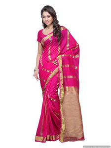 MIMOSA Simple Stripped Design Art Silk Saree with Un-Stitched Blouse Pink (3104-prs6-rani) - kupindaindia
