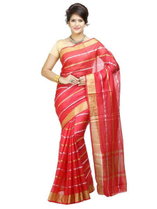 MIMOSA Beautiful Stripped Simple Net Saree with Blouse in Color Strawberry (3214-rnn-strab) - kupindaindia