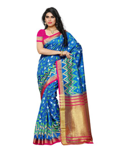 Mimosa By Kupinda Raw Silk Saree Ikkat Stlye Color:Royal Blue (3410-TBR-MMS-6-RBL-RNI) - kupindaindia