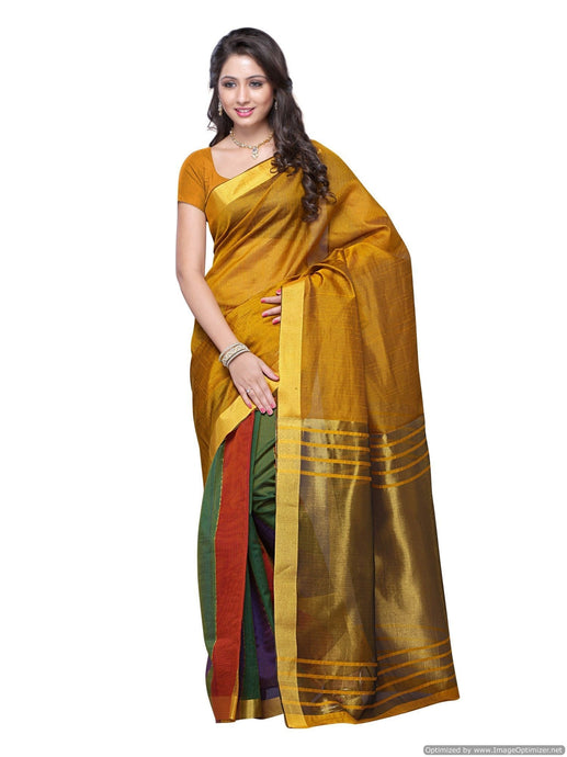 MIMOSA Simple Stripped Design Art Silk Saree with Blouse Gold (3102-prs11-gold) - kupindaindia