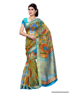 MIMOSA Multicolor Design Art Silk Saree with Blouse in Color Olive (3173-prs2s-pt-olive) - kupindaindia