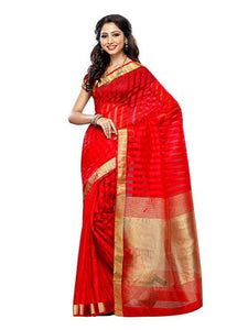 Mimosa raw silk saree with unstiched blouse - red