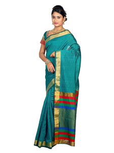 Mimosa raw silk saree with unstiched blouse - turquoise