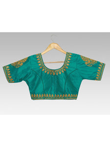 Mimosa semi stitched raw silk blouse with hand work (front