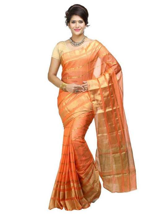 MIMOSA Simple Zari Net Saree with Blouse in Color Net Peach (3213-rnn-peach) - kupindaindia