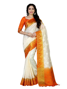 Mimosa tussar silk saree with unstiched blouse - beige