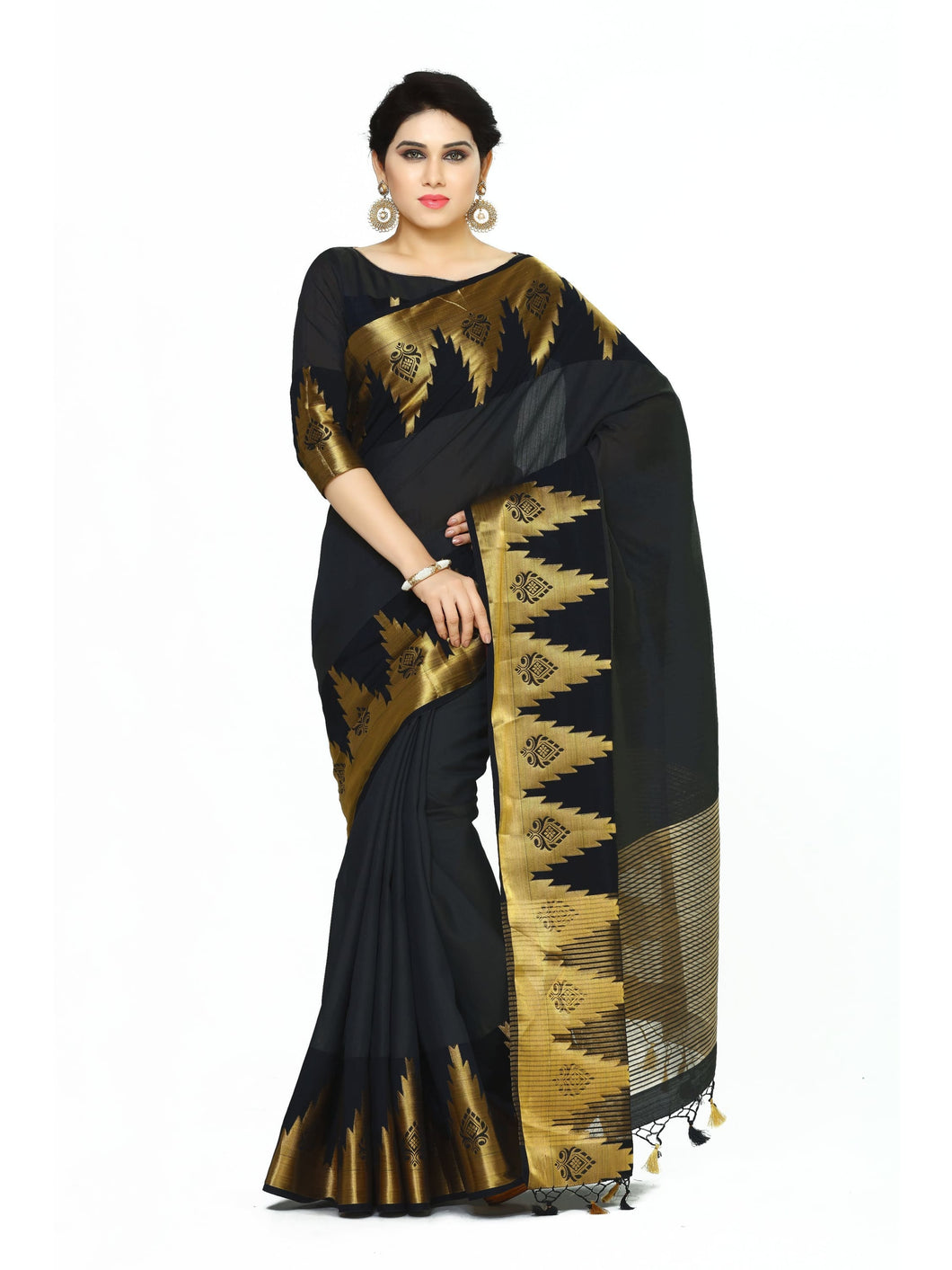 MIMOSA Latest Design Tussar Silk Banarasi Style Saree with Blouse in Color Black (4072-273-BLK) - kupindaindia