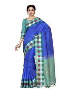 Mimosa tussar silk saree with unstiched blouse - blue
