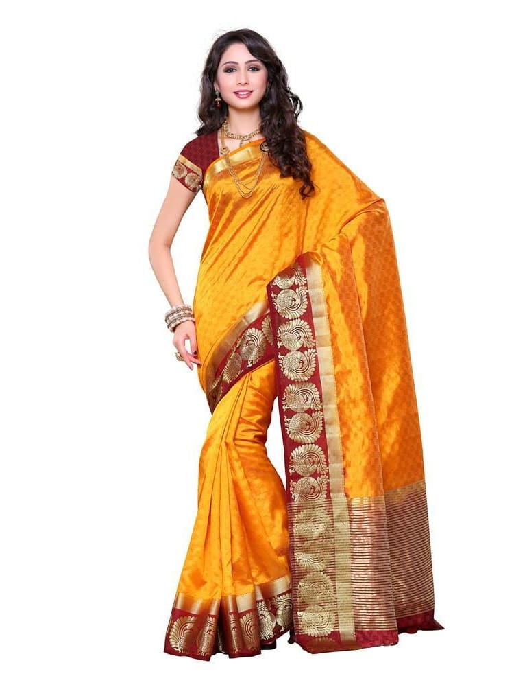 MIMOSA Checked Tussar Silk Saree with Blouse in Color Gold and Maroon (3269-187-2d-gld-mrn) - kupindaindia