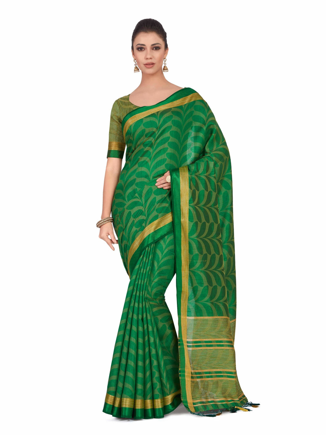Mimosa Art  Tusser silk Wedding saree Kanjivarm style With Running Blouse Color: Green (4327-2278-SD-BGRN)