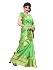 Mimosa tussar silk saree with unstiched blouse - green