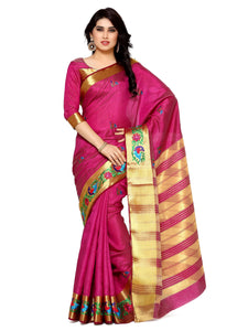 Mimosa tussar silk saree with unstiched blouse - magenta
