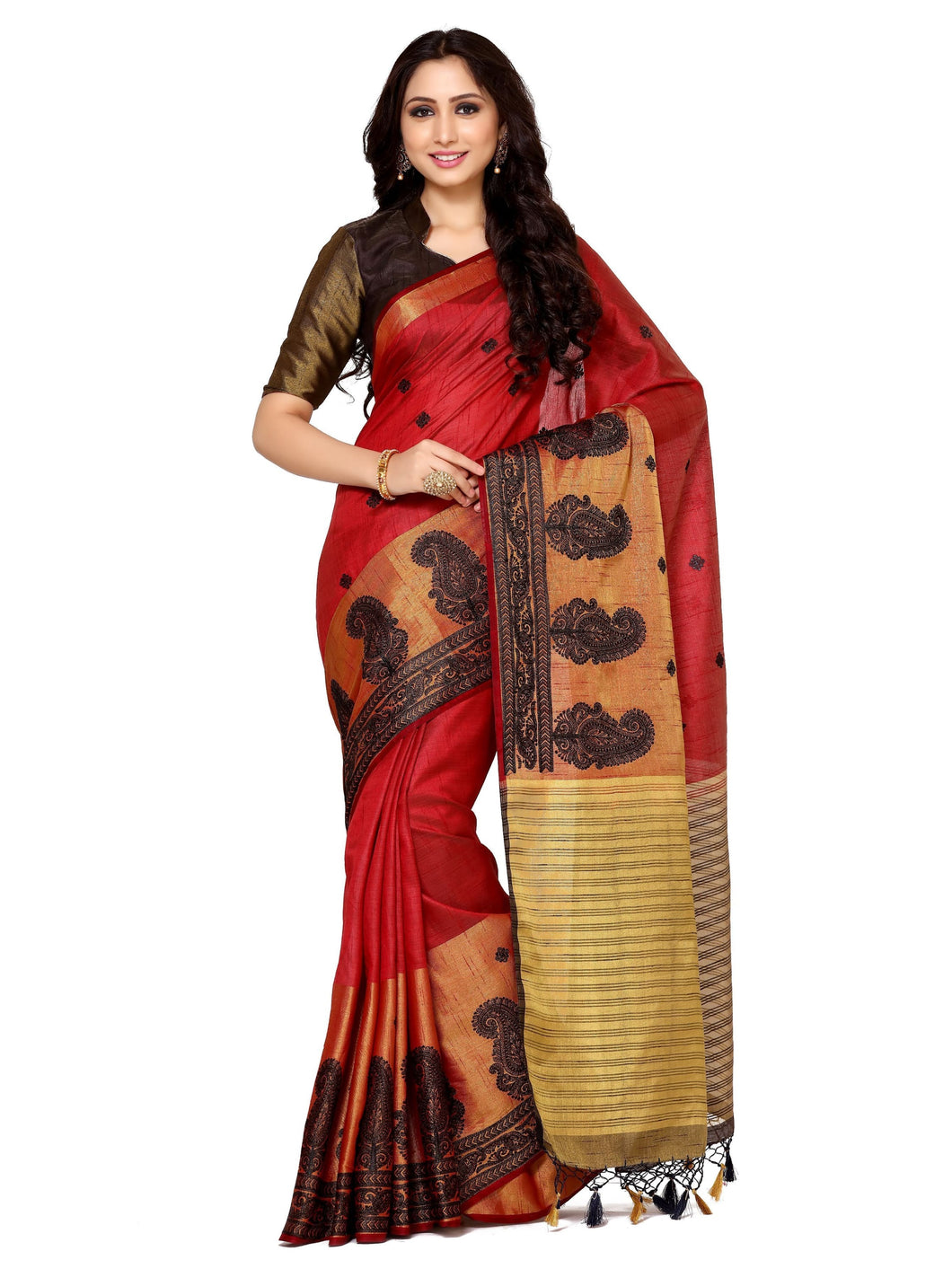 MIMOSA Motif Design Hand Embroidery Work Tussar Silk Saree with Blouse in Color Maroon (4096-2124-bl-mrn) - kupindaindia