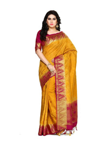 Mimosa tussar silk saree with unstiched blouse - mustard