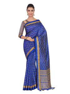 Mimosa tussar silk saree with unstiched blouse - navy blue