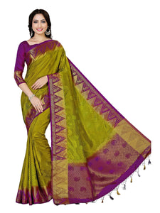 MIMOSA Motif Pattern Tussar Silk Kanjivaram Style Saree with Blouse in Color Olive (4059-223-olv-mej) - kupindaindia