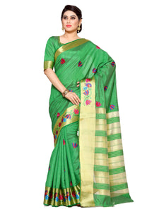 Mimosa tussar silk saree with unstiched blouse - olive