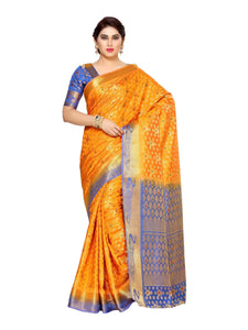Mimosa tussar silk saree with unstiched blouse - orange