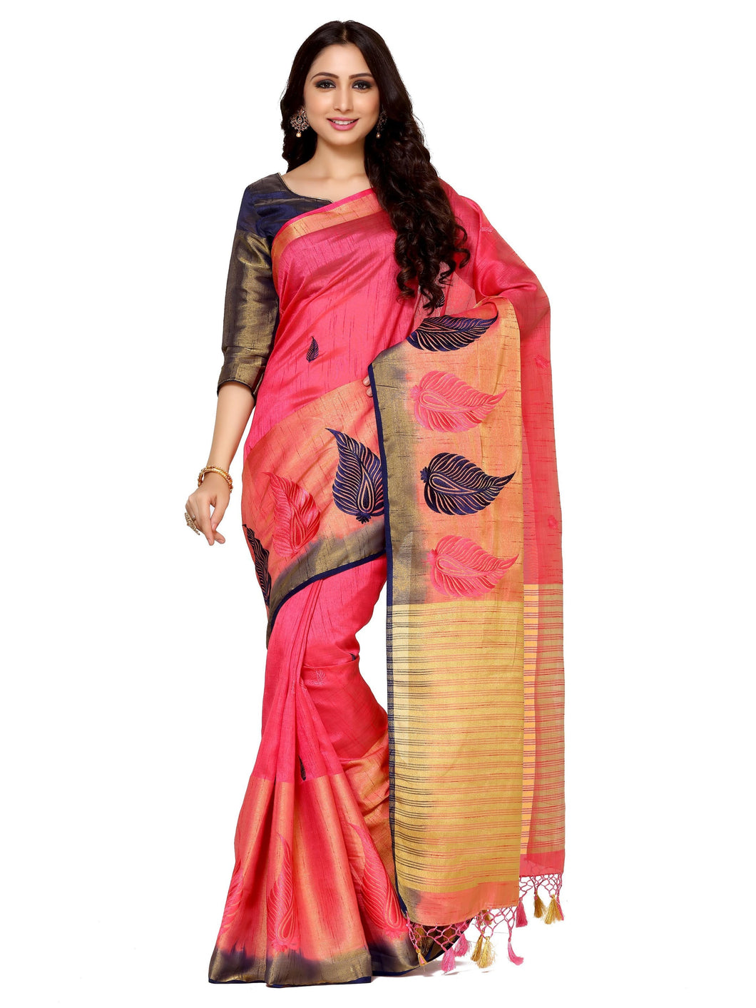 MIMOSA Leaf Design Hand Embroidery Work Tussar Silk Saree with Blouse in Color Strawberry (4095-2124-adl-emb-strw-nvy) - kupindaindia