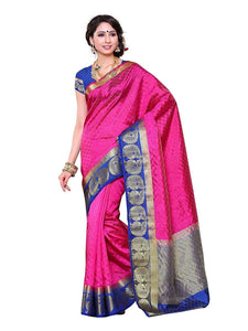 Mimosa tussar silk saree with unstiched blouse - pink