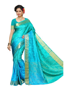 MIMOSA Floral Design Tussar Silk Kanjivaram Style Saree with in Color Ferozi (3430-2037-3d-and-rma-saf) - kupindaindia