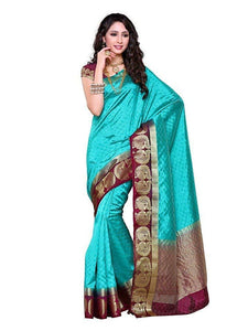 Mimosa tussar silk saree with unstiched blouse - turquoise