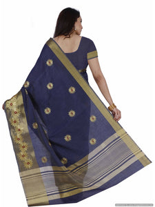 MIMOSA Flower Embroidery Work Tussar Silk Kanjivaram Style Saree with Blouse in Color Navy Blue (3447-2085-kh-5-nvy) - kupindaindia