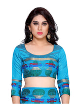 MIMOSA Multicolor Kalash Design Border Tussar Silk Kanchipuram Style Saree with Blouse in Color Sky Blue (4146-219-and) - kupindaindia
