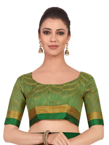 Mimosa Art Tusser silk saree Kanjivarm style With Running Blouse - kupindaindia