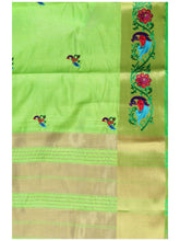 MIMOSA Multi Design Hand Embroidery Work Tussar Silk Kanchipuram Style Saree with Blouse in Color Lime Green (4098-2085-am-9-lrl) - kupindaindia