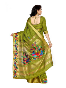 MIMOSA Hand Embroidery Work All Over Tussar Silk Kanjivaram Style Saree with Blouse in Color Olive (4124-2085-am-10-olv) - kupindaindia
