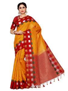 MIMOSA Multicolor Square Design Border Tussar Silk Saree with Blouse in Color Maroon (4044-216-2d-gld-mrn) - kupindaindia