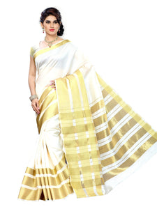 MIMOSA Plain and Simple Tussar Silk Saree with Blouse in Color Off White (3152-2069-tus-offwt) - kupindaindia