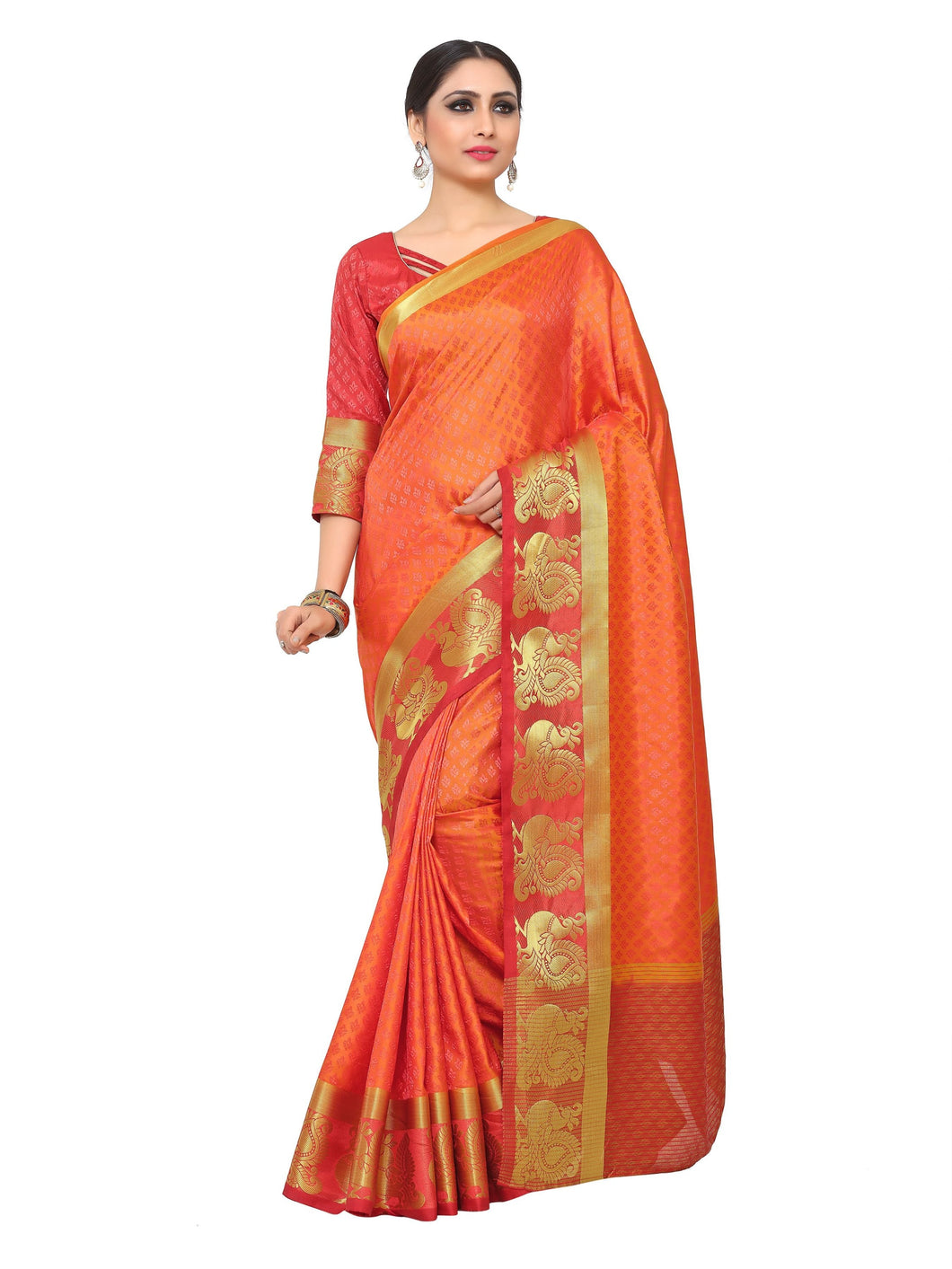 Mimosa uppada art silk saree with unstiched blouse - gold