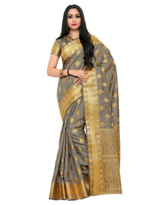 Mimosa uppada art silk saree with unstiched blouse - grey