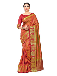 Mimosa uppada art silk saree with unstiched blouse - mustard