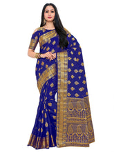 Mimosa uppada art silk saree with unstiched blouse - navy